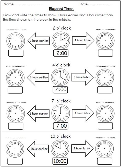 elapsed time worksheets  hour earlier  hour