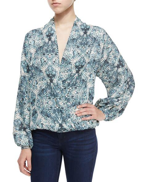 haute hippie blouse haute hippie tapestry floral faux wrap silk blouse in gray