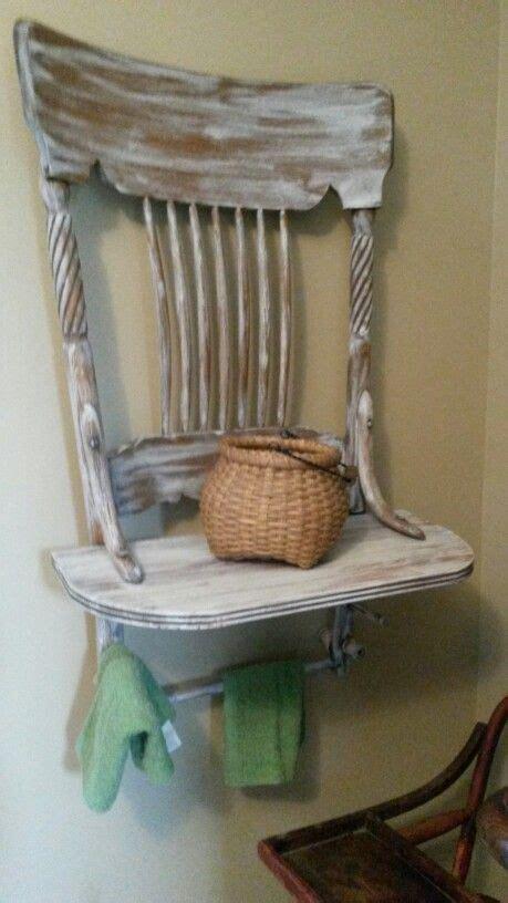 repurposed  chair  shelf  towel holders