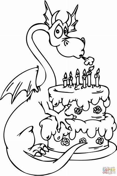 Coloring Birthday Happy Pages Cake Dragon Printable