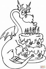 Coloring Birthday Happy Pages Cake Birthdays Popular sketch template