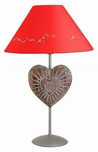 Lampe De Chevet Metal : lampe de chevet m tal peint argent motif coeur abat jour rouge h47 luminaires ~ Melissatoandfro.com Idées de Décoration