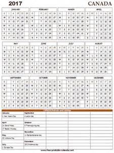 Free Printable 2017 Calendar with Holidays Canada