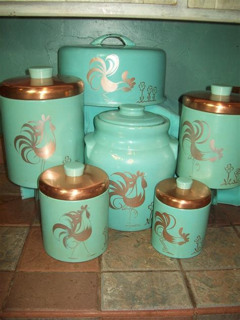turquoise kitchen canisters vintage turquoise aqua ransburg rooster 6pc set canisters cookie jar cake plate cake holder
