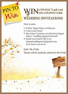 pin to win mac e gift card and coupon code on With elegant wedding invitations promo code