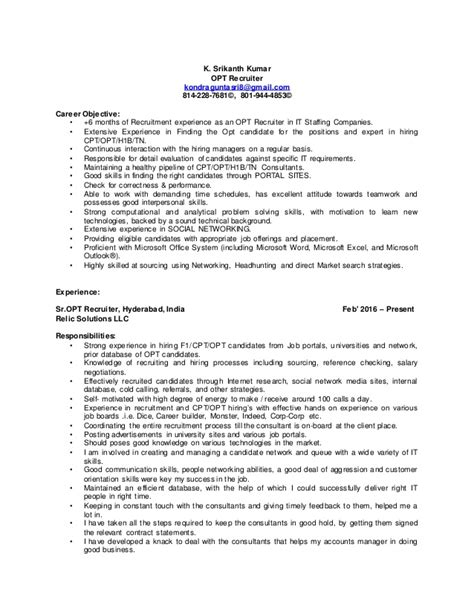 Technical Recruiter Resume Objective by Rrrrrrrrrrrrrrrrsrikanth Opt Recruiter Resume 2