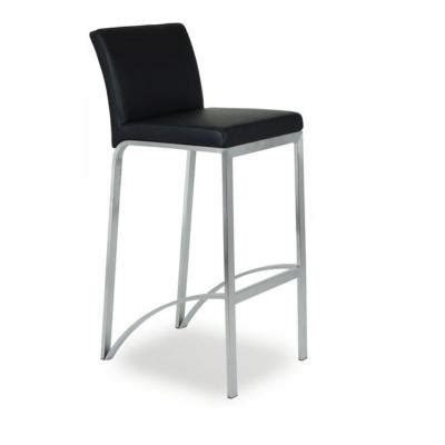 chaise haute de bar avec 4 pieds assise et dossier rembourr 233 simili cuir noir mobilier de