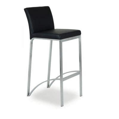 chaise de bar avec dossier chaise haute de bar avec 4 pieds assise et dossier rembourré simili cuir noir mobilier de