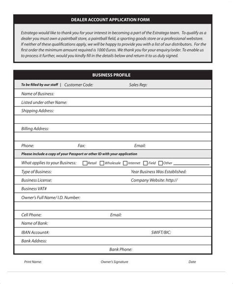Dealer Application Template by 60 Application Form Exles Sle Templates