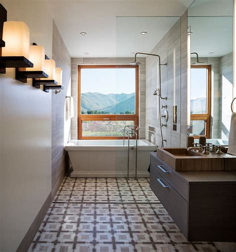 Modern Narrow Bathroom by Framed To Perfection 15 Bathrooms With Majestic Mountain