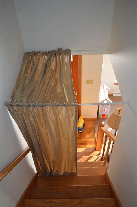 curtain rod diy stairwell curtain dandelion discoveries