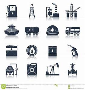 Oil Industry Icons Black Stock Vector - Image: 48747720