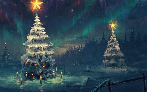 northern lights sky star night winter christmas tree snow candles star new year 2015 hd wallpaper