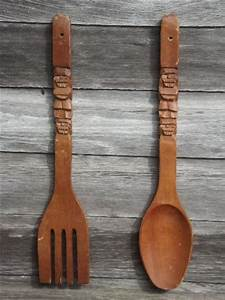 retro kitchen wall art, big carved wooden forks & spoons ...