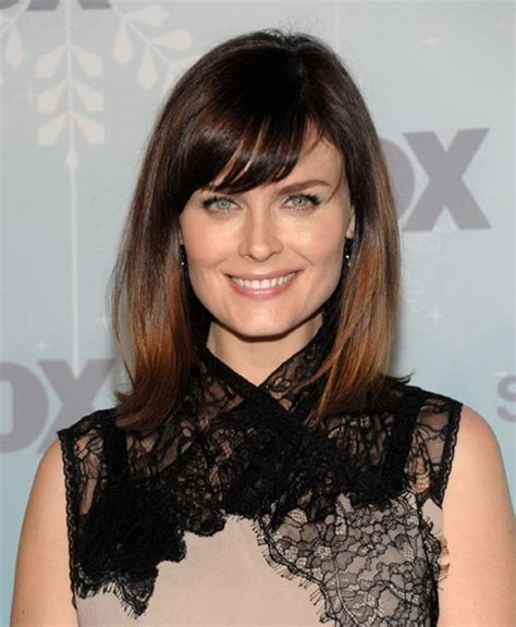 medium length hairstyles with side bangs
