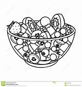 Salad Fruit Outline Symbol Vector Illustration Kinds Icon Various Bowl Single Cartoon Drawing Clipart Shutterstock Web Clip Glass sketch template