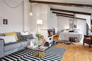 chambre salon amenagements astucieux pour petits espaces With tapis champ de fleurs avec canapé lit pour studio