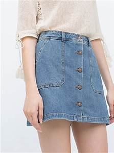Womenu0026#39;s Blue Jean Skirt- Denim / Button Down Front / Mini