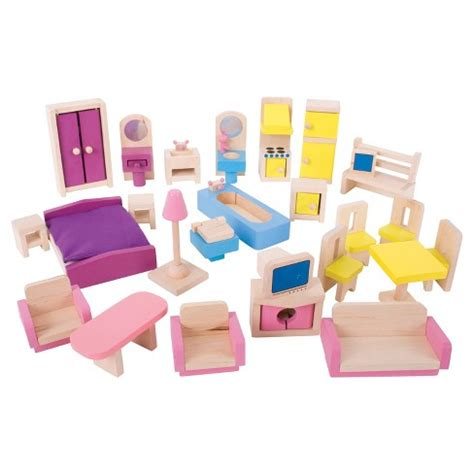 Dollhouse Furniture Set by Bigjigs Toys Wooden Dollhouse Furniture Set Target