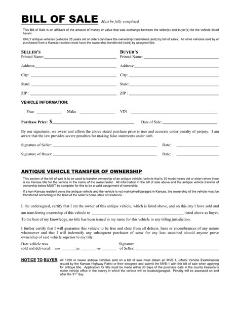 bill ofsale bill of sale free printable documents