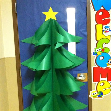 paper christmas tree bulletin board tree door decoration made with butcher paper cool for school butcher