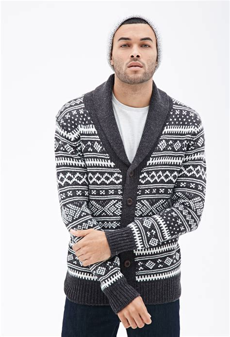 mens patterned sweaters forever 21 abstract patterned shawl collar cardigan in