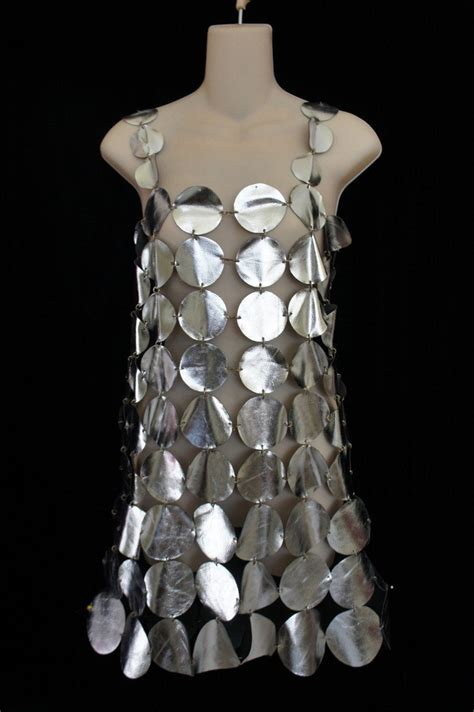 vintage paco rabanne inspired   leather disc dress