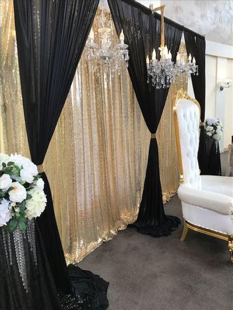 bridal table backdrop black  gold black gold