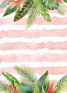 watercolor card tropical leaves and branches on the