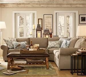 pearce 2 piece l shape sectional everydaysuede With pearce sectional sofa pottery barn