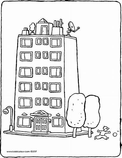 Building Apartment Appartement Kleurplaat Mehrfamilienhaus Colouring Kiddicolour