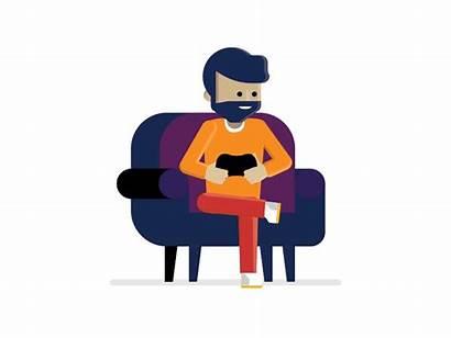 Gamer Microsoft Dribbble Animated Character Gifs Flat