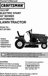 Craftsman 917271821 User Manual Lawn Tractor Manuals And