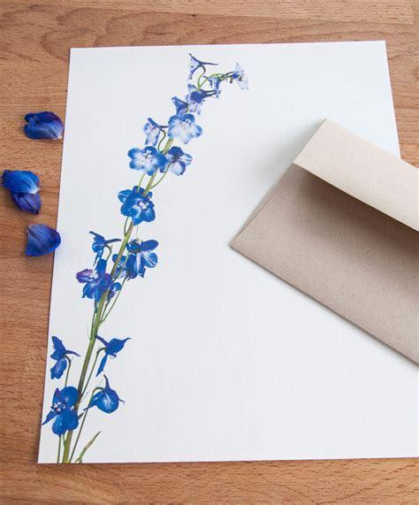 letter writing stationery blue delphinium stalk letter set