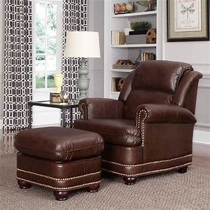 Home, Styles, Beau, Brown, Faux, Leather, Arm, Chair, With, Ottoman-5200-100