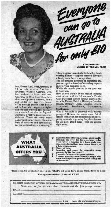ten pound poms tilbury australia history australian vintage australia