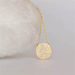 Gold Disc Necklace, Circle Textured Disc Necklace ...