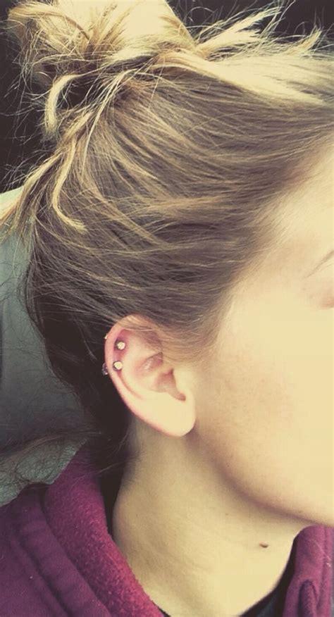 simple  cute double cartilage piercing stylin