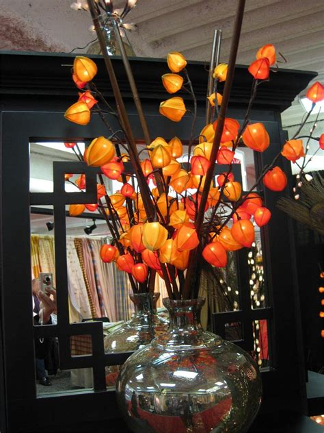 red chinese lantern  lights lighted branches chinese