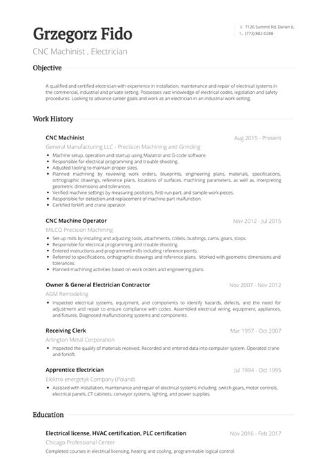 Machinist Sle Resume by Cnc Machinist Resume Sles Templates Visualcv