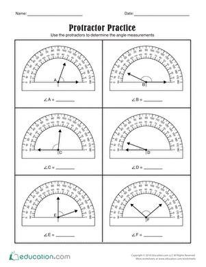 protractor practice worksheet education com