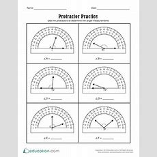 Protractor Practice  Worksheet Educationcom