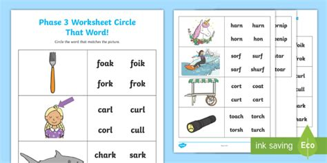 * New * 'or', 'ur' And 'ar' Circle That Word Worksheet  Phase 3, Spot The