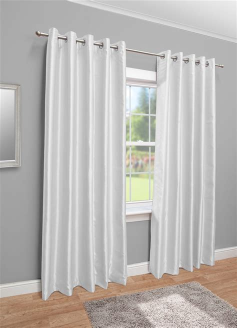 white faux silk eyelet fully lined curtains