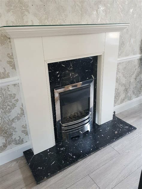 black gloss fireplace used white gloss fireplace with black marble hearth and