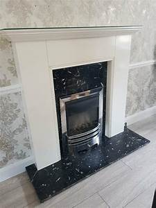 Used, White, Gloss, Fireplace, With, Black, Marble, Hearth, And, Back