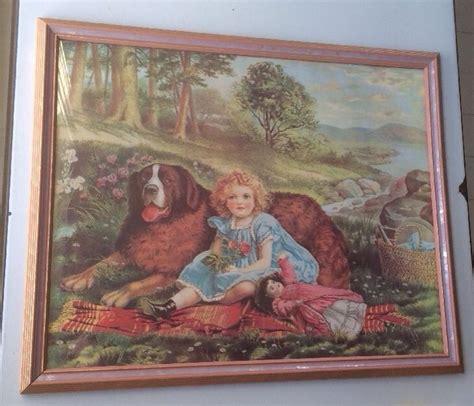 vtg antique framed victorian art print girl doll st