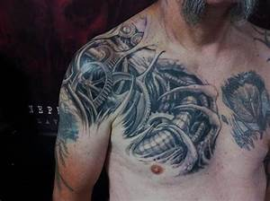 Shoulder Biomechanical Chest Tattoo by Nephtys de l'Etoile