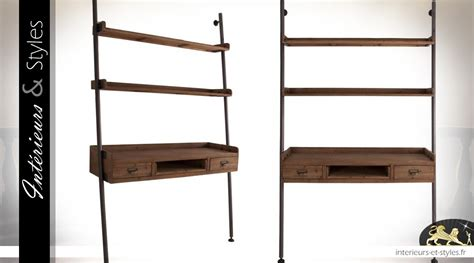 bureau et etagere etagère murale bois et métal avec plateau écritoire 203 cm