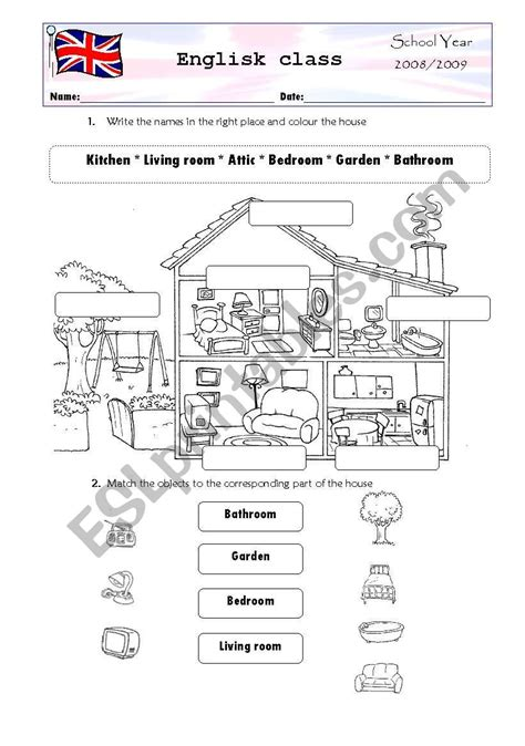 Parts Of The House  Esl Worksheet By Joanica